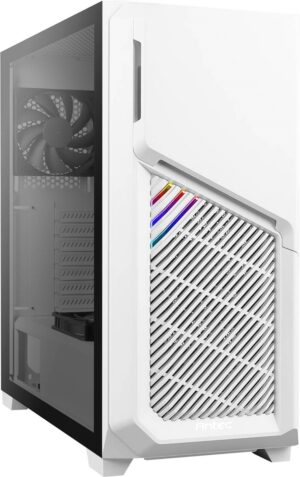 Antec DP502 FLUX White High Airflow, ATX, Tempered Glass with 3x Fans in Front, 1x Rear, 1x PSU Shell (Reverse Fan blade) Gaming Case