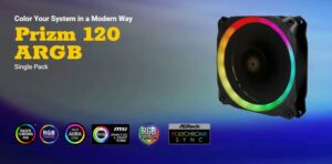 Antec Prizm 120mm ARGB PWM Fan V2 Dual-Ring Hydraulic Bearing, 18 Independent LED Beads. 2 Years Warranty