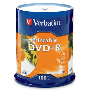 Verbatim DVD-R 4.7GB 100Pk White InkJet 16x, Compatible for Full-Surface, Edge-to-Edge Printing, Superior ink absorption on high-resolution 5,760 DPI