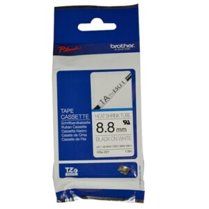 8.8MM BLACK ON WHITE HEAT SHRINK TUBE CATRIDGE (compatible with PT-E300VP/PT-E550WVP)