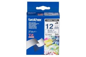 Brother 12MM Blue White Tape Fabric TZE Tape