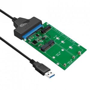 Simplecom SA221 USB 3.0 to mSATA + NGFF M.2 (B Key) SSD 2 in 1 Combo Adapter