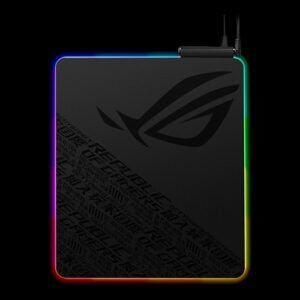 Asus ROG Balteus QI Gaming Mouse Pad (NH01) Qi Wireless Charging LED Indicator, 15-Zone Aura Sync, Portrait Hard Surface, USB Passthrough
