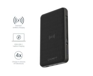 CYGNETT 27000 mAh USB-C Laptop and Wireless Power Bank - Black, Charge 3 devices at once, 60W USB-C Power Delivery, Power a laptop up to 16 hrs