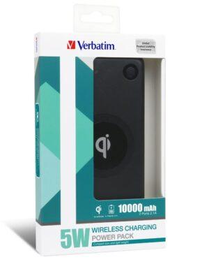 Verbatim Li-polymer Qi 5W Wireless Charging Power Pack 10,000mAh - Black (LS)