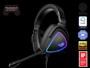 ASUS ROG Delta S Lightweight USB-C Gaming Headset with AI noise-canceling mic, MQA rendering technology, RGB lighting, PC, Switch & PS5