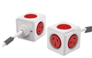 ALLOCACOC POWERCUBE Extended 5 Outlets Power Board, 3 Meter Extension Cord - Red (3979) (LS)