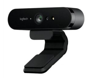 Logitech BRIO 4K Ultra HD Webcam HDR RightLight3 5xHD Zoom Auto Focus Infrared Sensor Video Conferencing Streaming Recording Windows Hello Security(L)