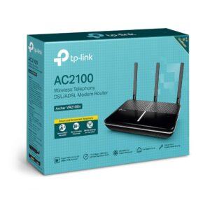 TP-Link Archer VR2100v AC2100 Wireless MU-MIMO VDSL/ADSL Telephony Modem Router VDSL2 Profile 35b Up To 1733Mbps, MU-MIMO, Whole Home, Voice Mail