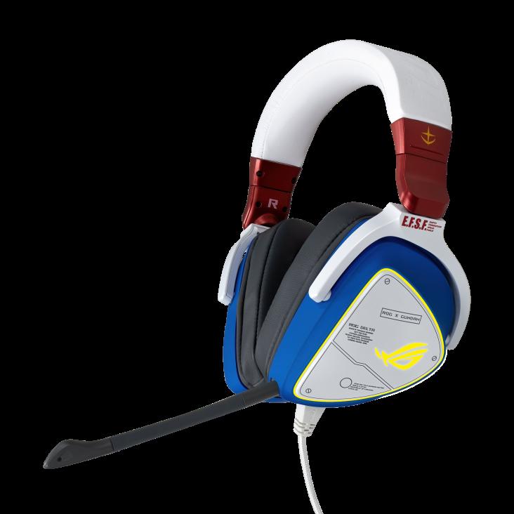ASUS ROG DELTA GUNDAM Headset, Hi-Res ESS Quad-DAC, RGB, USB C, PC, MAC, PS4, Nintendo Switch, Mobile Devices, 50mm Driver, USB-C to USB 2 Adapter